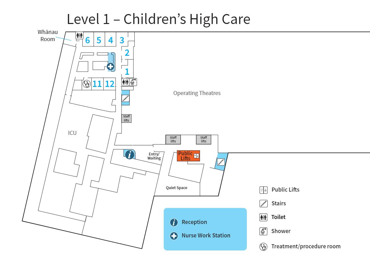 Children's High Care Ward Map